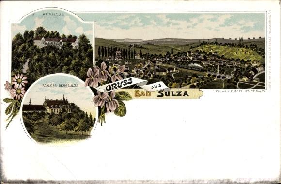 Litho Bad Sulza im Weimarer Land Thüringen, Kurhaus, Schloss Bergsulza, Gesamtansicht