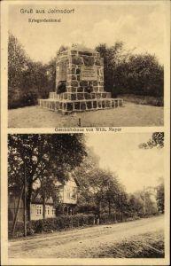 Ak Jelmsdorf in der Lüneburger Heide, Kriegerdenkmal, Geschäftshaus von Wilh. Meyer