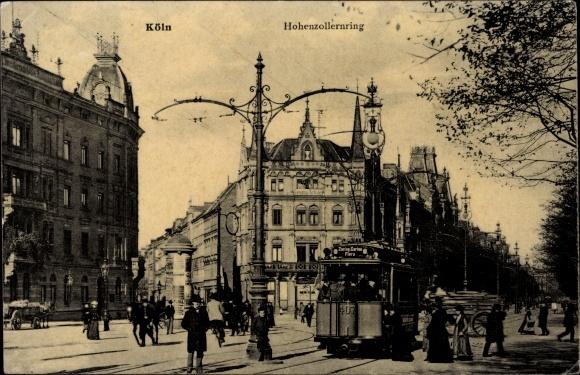 Ak Köln am Rhein, Hohenzollernring mit Straßenbahn zum Zoologischen Garten und Flora