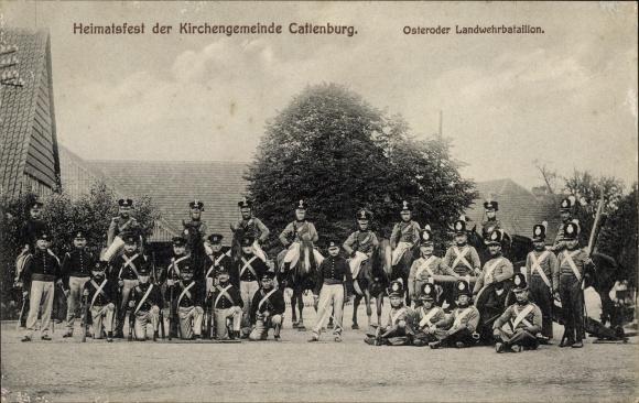 Ak Katlenburg Lindau in Niedersachsen, Heimatfest der Kirchengemeinde, Osteroder Landwehrbataillon