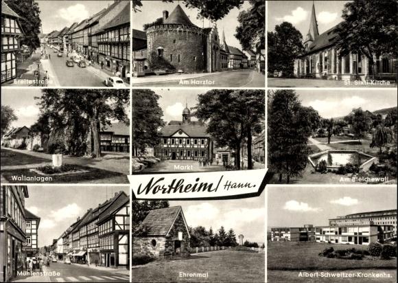 Ak Northeim in Niedersachsen, Breitestraße, Harztor, St. Sixti Kirche