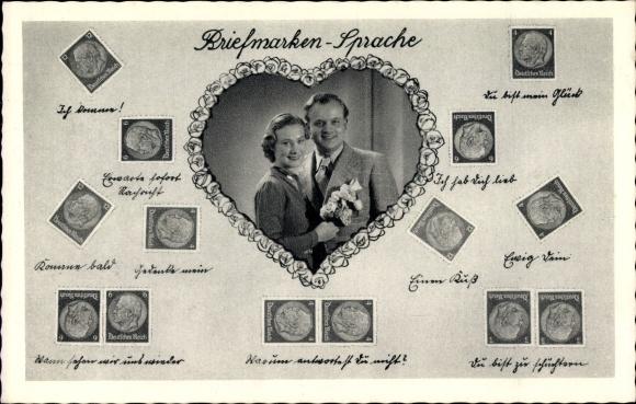 Briefmarken Ak Briefmarkensprache, Liebespaar, Portrait, Herz