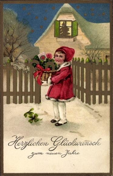 Präge Ak Glückwunsch Neujahr, Mädchen mit Korb, Kleeblätter, Hufeisen