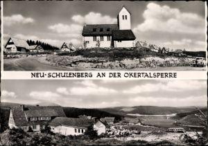 Ak Schulenberg Clausthal Zellerfeld im Oberharz, Blick auf die Umgebung, Talsperre, Kirche