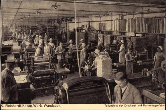 Ak Hamburg Wandsbek, Reichardt Kakao Werk, Teilansicht der Drückerei und Kartonnagenfabrik