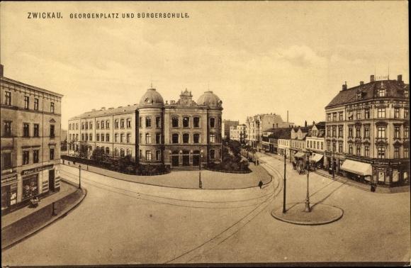 Ak Zwickau In Sachsen Georgenplatz Und Burgerschule Geschaft Ed