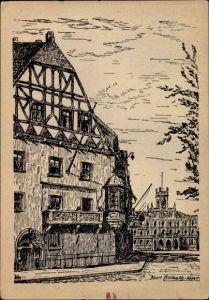 Künstler Ak Weimar in Thüringen, Verschwundenes Weimar, Fürstenkeller, Fachwerkhaus