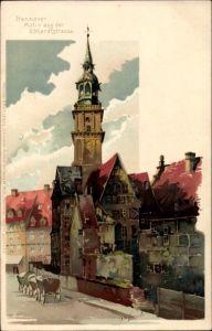 Künstler Litho Hammel, Otto, Hannover in Niedersachsen, Motiv aus der Ebhardtstraße, Meissner Buch