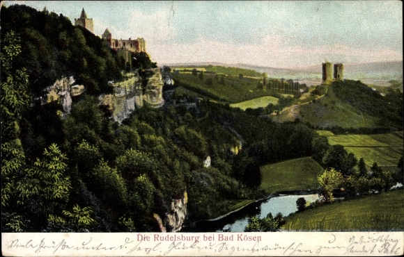 Ak Bad Kösen Naumburg an der Saale, Blick auf die Rudelsburg