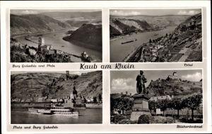 Ak Kaub in Rheinland Pfalz, Burg Gutenfels und Pfalz, Blücherdenkmal, Totalansicht