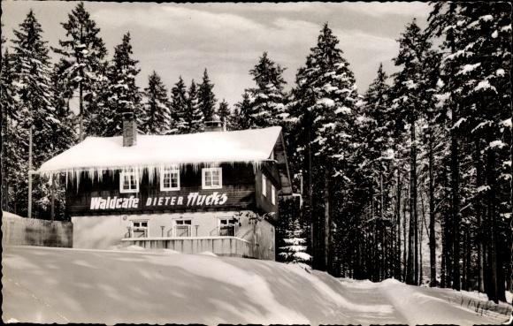 Ak Braunlage im Oberharz, Winterzauber, Waldcafé Diter Hucks, Wald