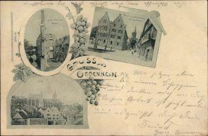 Ak Oppenheim am Oberrhein, Ruine Landskrone, Rathaus, Katharinenkirche, Totalansicht