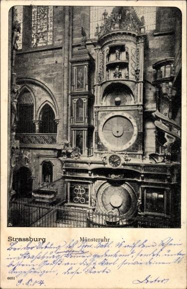 Ak Strasbourg Straßburg Elsass Bas Rhin, Münsteruhr, Astronomische Uhr