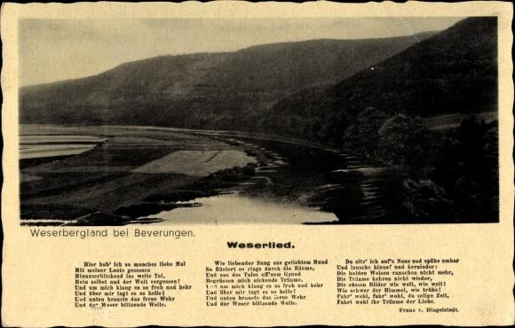 Lied Ak Beverungen in Nordrhein Westfalen, Blick über das Weserbergland, Weserlied von Dingelstedt