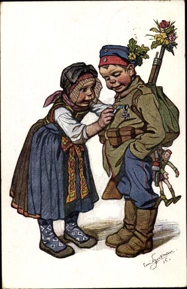 Künstler Ak Beithan, Emil, Soldat kehrt Heim, Orden, Frau, I. WK