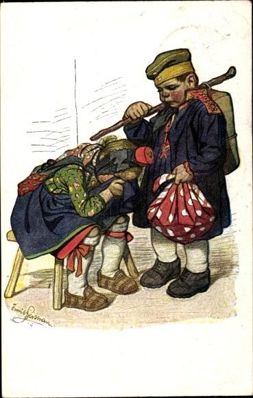 Künstler Ak Beithan, Emil, Soldatenabschied, Trauernde Frau