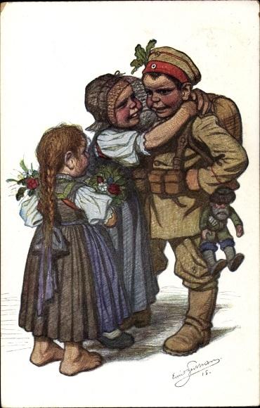 Künstler Ak Beithan, Emil, Soldat, Heimkehr, Begrüßung, Frau und Tochter, I. WK