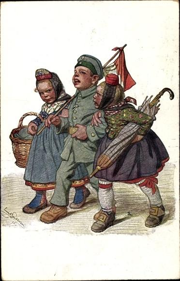 Künstler Ak Beithan, Emil, Soldat mit zwei Schwälmerinnen in Trachten, Konkurrentinnen