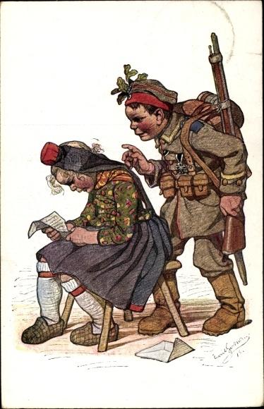 Künstler Ak Beithan, Emil, Soldat überrascht Frau, Heimkehr, I. WK