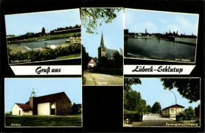 Ak Schlutup Lübeck in Schleswig Holstein, Schwimmbad, Hafen, Kirche, Zonengrenzübergang