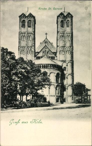 Ak Köln am Rhein, Frontansicht der Kirche St. Gereon, Kutschen