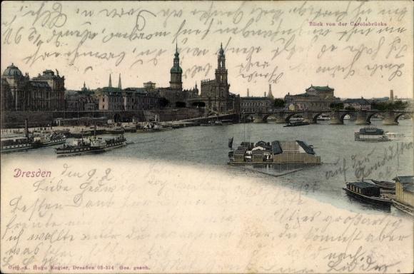 Ak Dresden Zentrum, Blick von der Carolabrücke auf die Altstadt, Dampfer, Marienbäder
