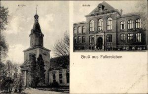Ak Fallersleben Wolfsburg in Niedersachsen, Kirche, Schüler vor der Schule