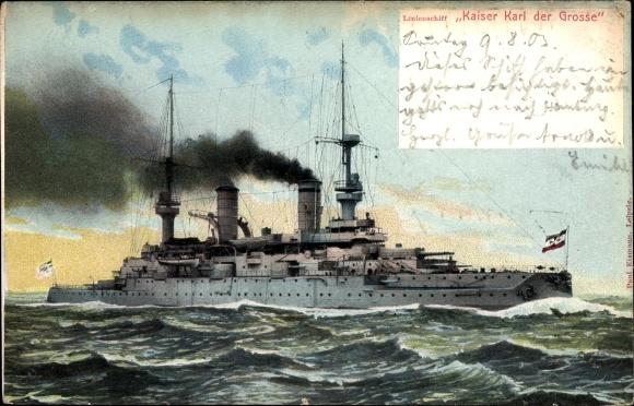 Ak Deutsches Kriegsschiff, SMS Kaiser Karl der Große, Linienschiff, Kaiserliche Marine