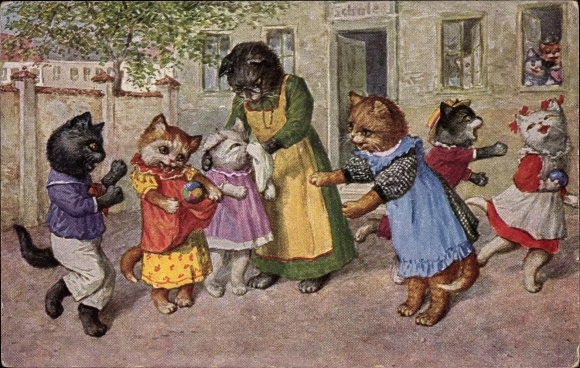 Künstler Ak Thiele, Arthur, Schulpause, Katzen, Spiel im Schulhof