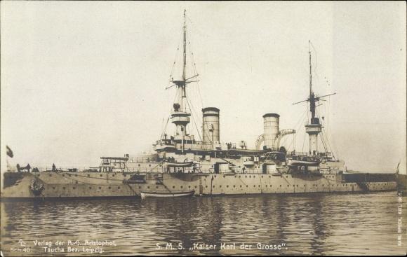 Foto Ak Deutsches Kriegsschiff, SMS Kaiser Karl der Große, Kaiserliche Marine