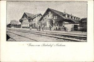 Ak Niederau Sachsen, Ansicht vom Bahnhof, Gleisseite