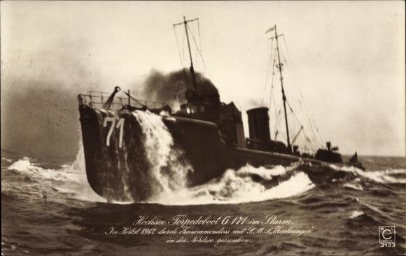 Ak Deutsches Kriegsschiff, Torpedoboot G 171 im Sturm, Kaiserliche Marine