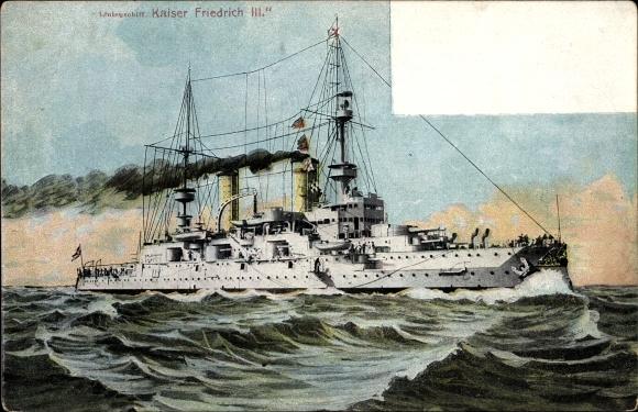 Ak Deutsches Kriegsschiff, SMS Kaiser Friedrich III., Linienschiff, Kaiserliche Marine