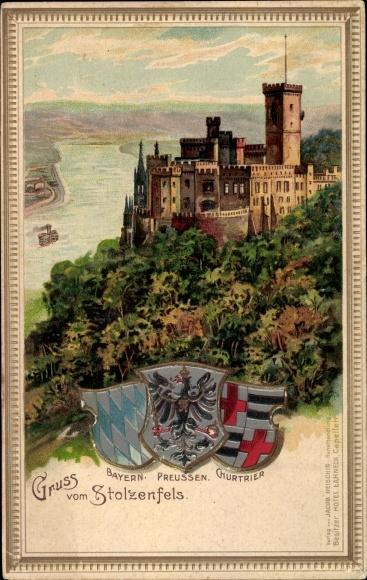 Präge Passepartout Wappen Litho Koblenz, Stolzenfels Koblenz in Rheinland Pfalz, drei Wappen, Burg