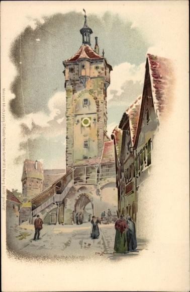 Künstler Litho Hammel, Otto, Rothenburg ob der Tauber Mittelfranken, Klingentor, Meissner & Buch