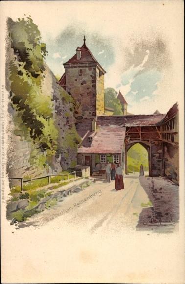 Künstler Litho Hammel, Otto, Rothenburg ob der Tauber Mittelfranken, Koboldzeltertor,Meissner & Buch