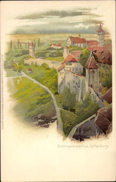 Künstler Litho Hammel, Otto, Rothenburg ob der Tauber Mittelfranken,Stadtmauerpartie,Meissner & Buch