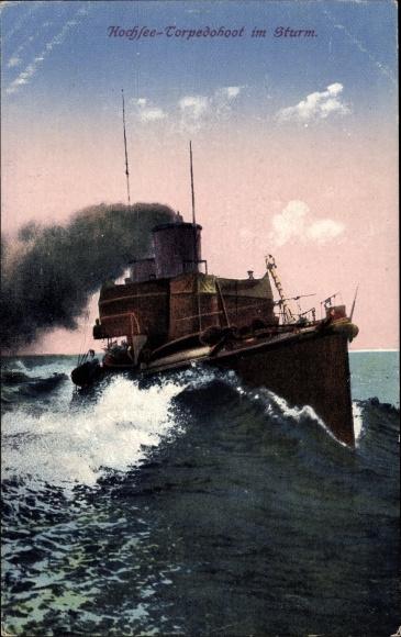 Ak Deutsches Kriegsschiff, Hochsee Torpedoboot im Sturm, Kaiserliche Marine