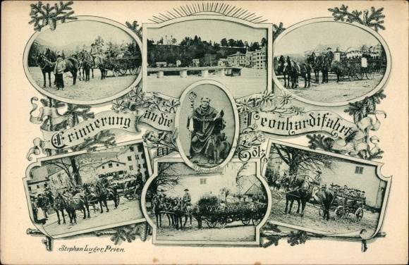 Ak Bad Tölz im Isartal Oberbayern, Leonhardifahrt, St. Leonhardt, Pferdegespann