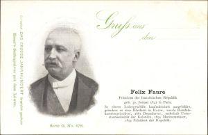 Ak Félix Faure, Französischer Staatspräsident, Portrait