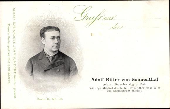 Ak Adolf Ritter von Sonnenthal, Österreichischer Schauspieler, Portrait