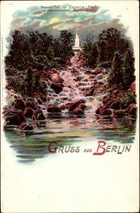 Litho Berlin Kreuzberg, Wasserfall im Victoria Park, Grünanlagen