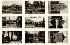 Ak Gryfice Greifenberg Pommern, Steintor, Rosengarten, Markt, Rathaus, Rega, Ottoshöhe, Hohes Tor