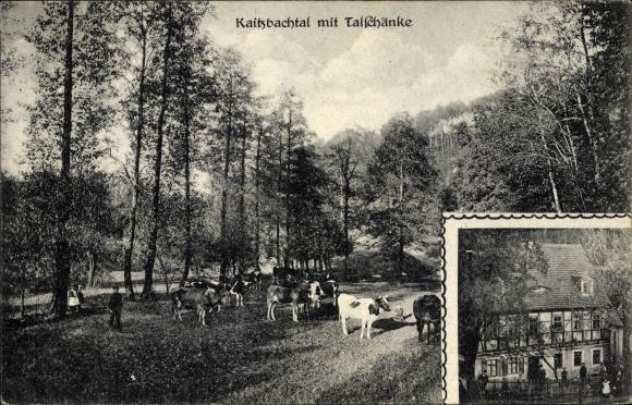 Ak Dresden Süd Kleinpestitz, Partie im Kaitzbachtal, Talschänke ...