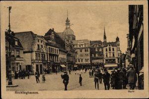 Ak Recklinghausen im Ruhrgebiet, Marktplatz mit Geschäften und Passanten