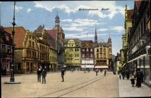 Ak Recklinghausen in im Ruhrgebiet, Marktplatz, Geschäfte, Passanten