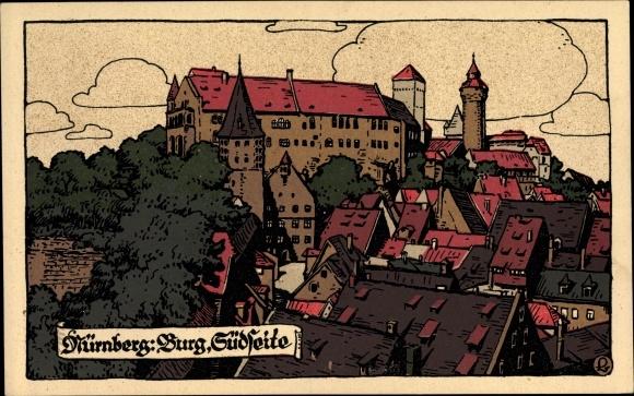 Steindruck Ak Nürnberg in Mittelfranken Bayern, Blick auf die Südseite der Burg