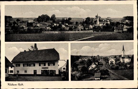 Ak Kläham Ergoldsbach in Niederbayern, Gesamtansicht, Geschäftshaus, Kirche