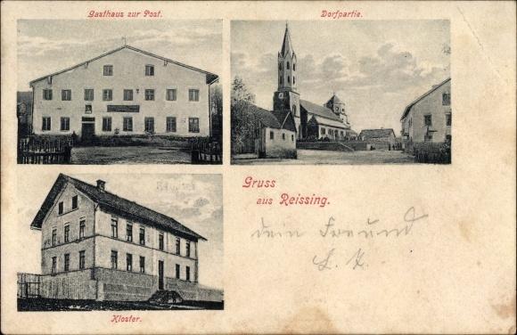Ak Reissing Oberschneiding, Gasthaus zur Post, Dorfpartie mit Kirche, Kloster