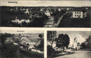 Ak Gräfelfing Oberbayern, Gesamtansicht, Straßenpartie, Kirche